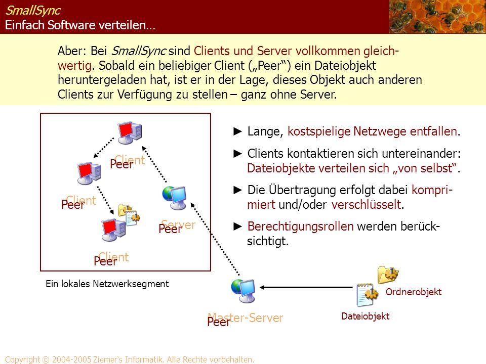 SmallSync Einfach Software verteilen… Aber: Bei SmallSync sind Clients und Server vollkommen gleich- wertig. Sobald ein beliebiger Client (Peer) ein D