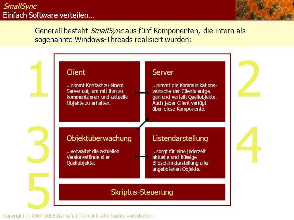 SmallSync Einfach Software verteilen… Generell besteht SmallSync aus fünf Komponenten, die intern als sogenannte Windows-Threads realisiert wurden: Co