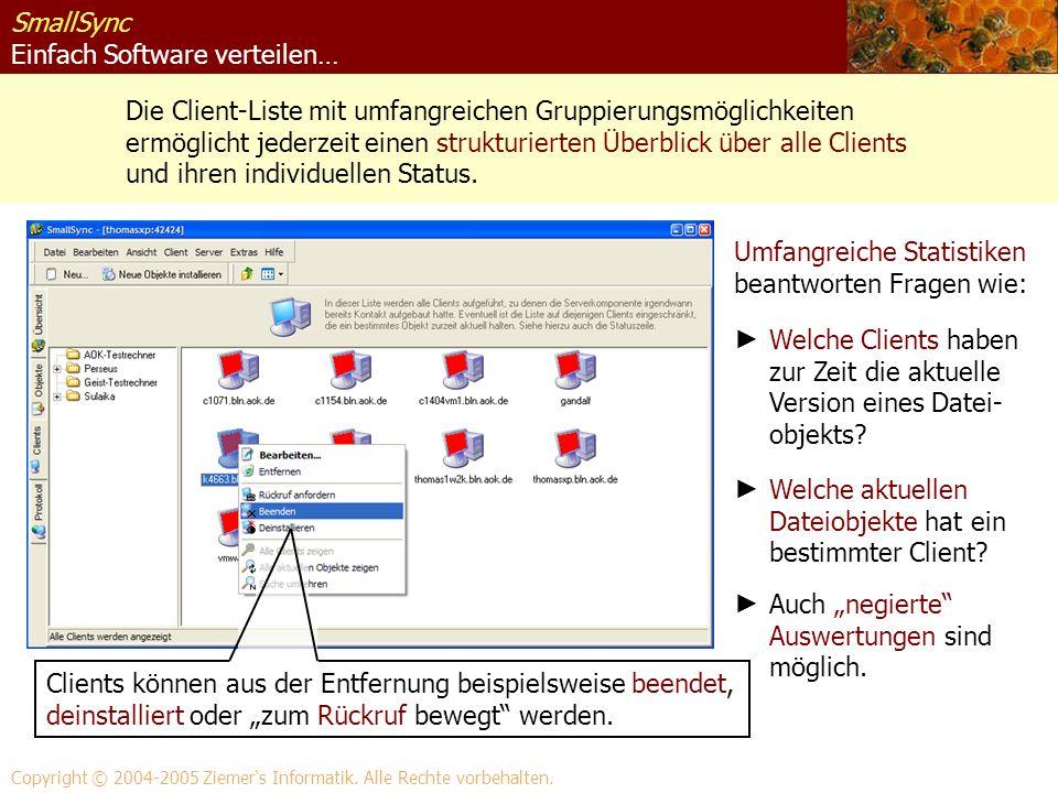SmallSync Einfach Software verteilen… Die Client-Liste mit umfangreichen Gruppierungsmöglichkeiten ermöglicht jederzeit einen strukturierten Überblick