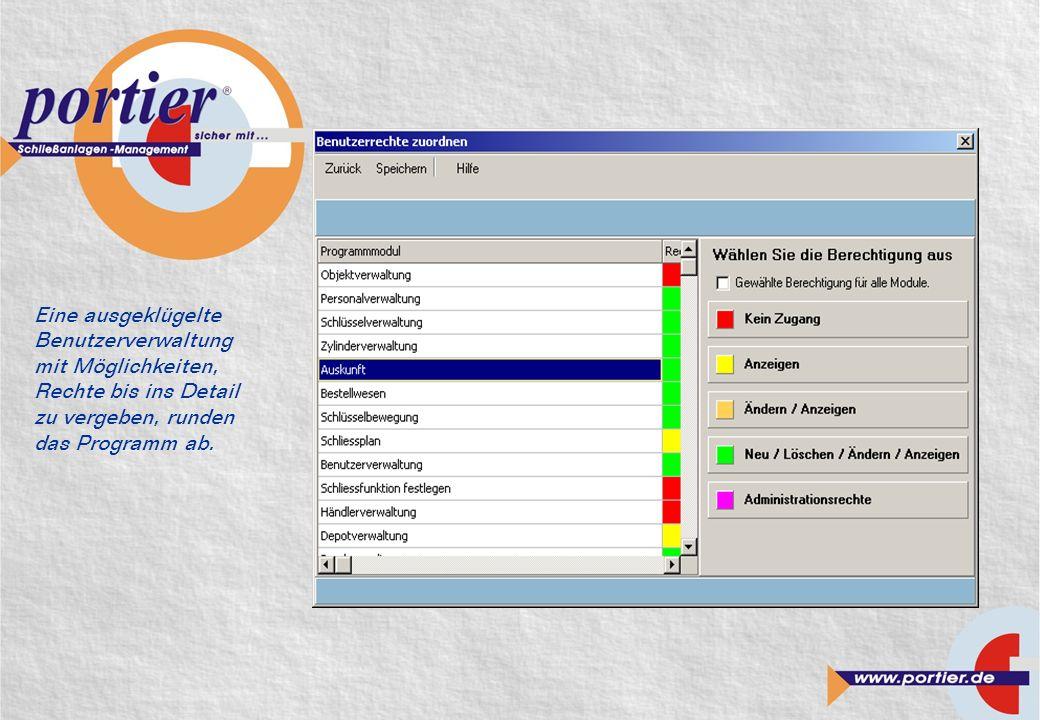 Eine ausgeklügelte Benutzerverwaltung mit Möglichkeiten, Rechte bis ins Detail zu vergeben, runden das Programm ab.