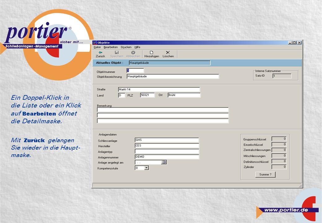 Ein Doppel-Klick in die Liste oder ein Klick auf Bearbeiten öffnet die Detailmaske.