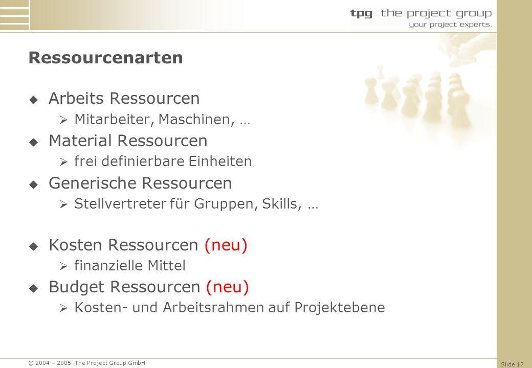 © 2004 – 2005 The Project Group GmbH Slide 17 Ressourcenarten Arbeits Ressourcen Mitarbeiter, Maschinen, … Material Ressourcen frei definierbare Einheiten Generische Ressourcen Stellvertreter für Gruppen, Skills, … Kosten Ressourcen (neu) finanzielle Mittel Budget Ressourcen (neu) Kosten- und Arbeitsrahmen auf Projektebene