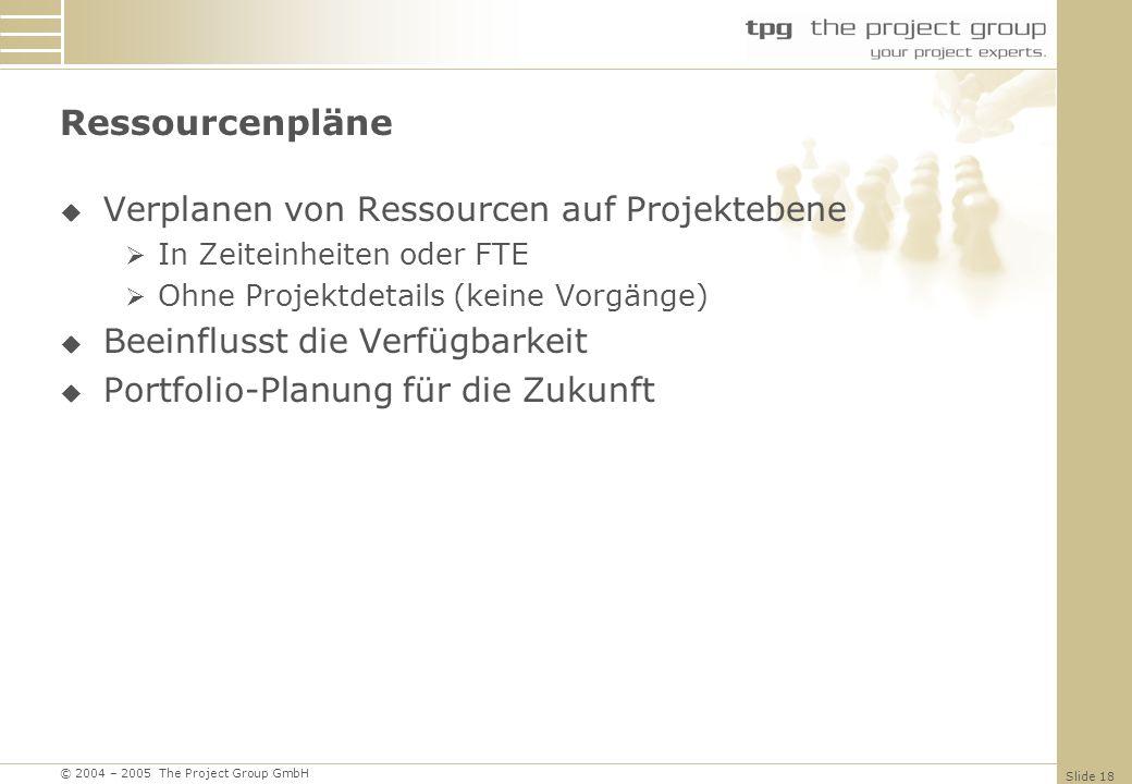 © 2004 – 2005 The Project Group GmbH Slide 18 Ressourcenpläne Verplanen von Ressourcen auf Projektebene In Zeiteinheiten oder FTE Ohne Projektdetails (keine Vorgänge) Beeinflusst die Verfügbarkeit Portfolio-Planung für die Zukunft