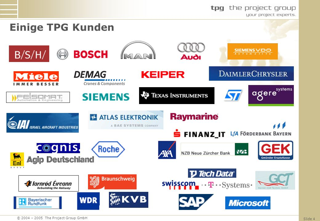 © 2004 – 2005 The Project Group GmbH Slide 25 Integrated Platform TimesheetWorkflows Reporting Warehouse Scheduling Engine Other Server Objects Project Server Interface LOBApplications