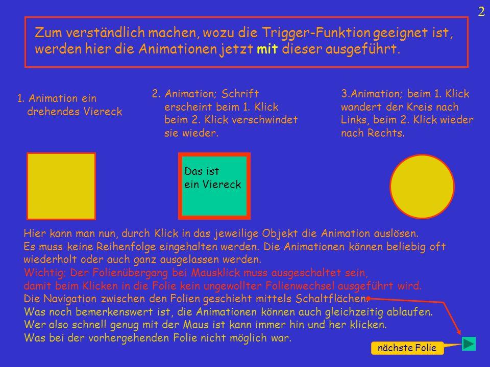 3 Am drehenden Viereck sei nun gezeigt wie die Trigger-Funktion aufgerufen wird.