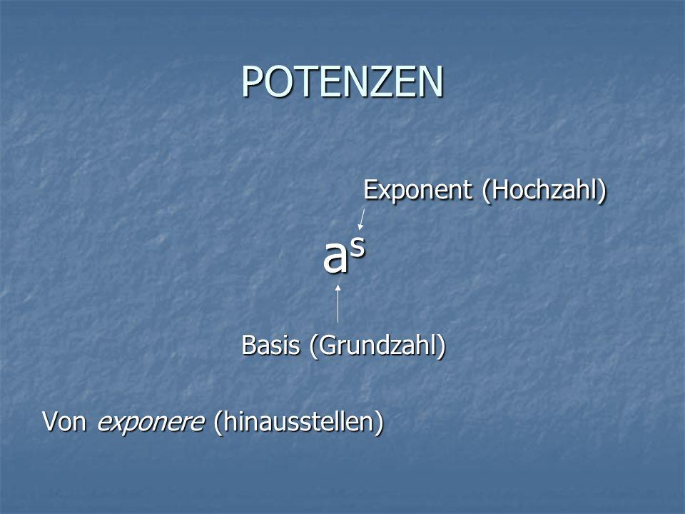 POTENZEN Exponent (Hochzahl) Exponent (Hochzahl) asasasas Basis (Grundzahl) Von exponere (hinausstellen)