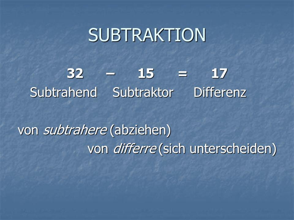 SUBTRAKTION 32 – 15 = 17 Subtrahend Subtraktor Differenz Subtrahend Subtraktor Differenz von subtrahere (abziehen) von differre (sich unterscheiden)