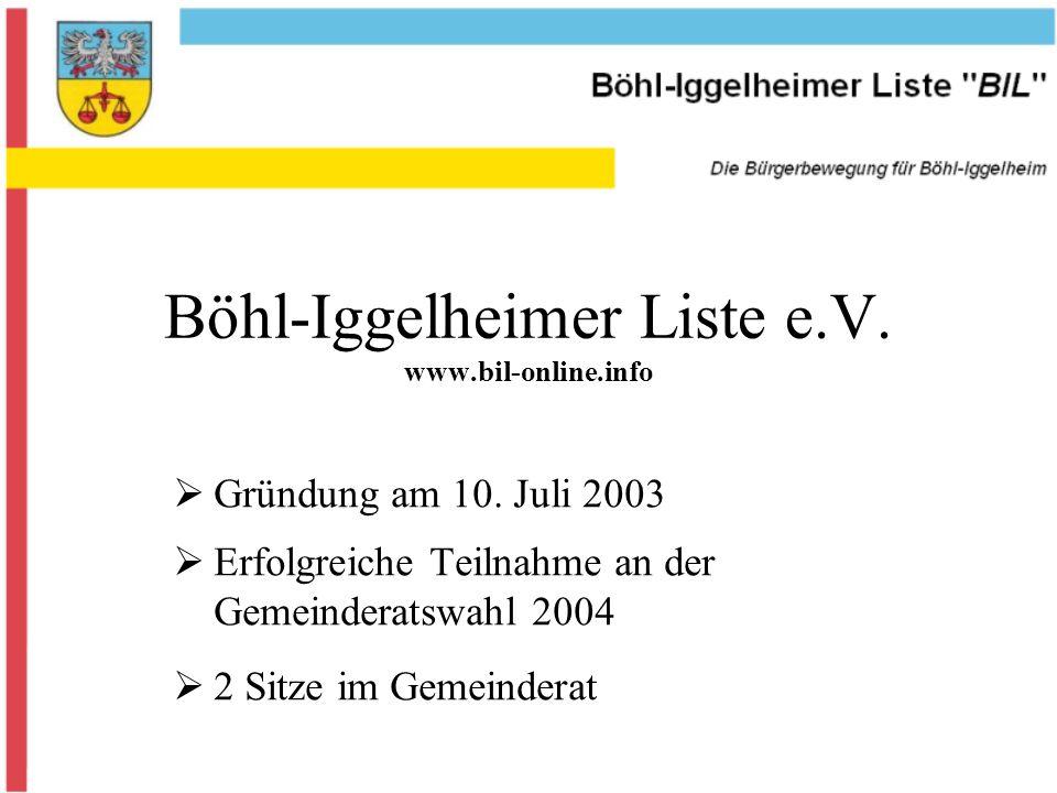 Böhl-Iggelheimer Liste e.V. www.bil-online.info Gründung am 10.
