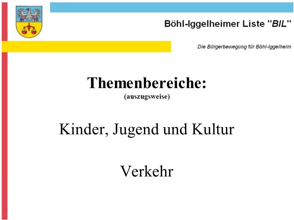 Themenbereiche: (auszugsweise) Kinder, Jugend und Kultur Verkehr