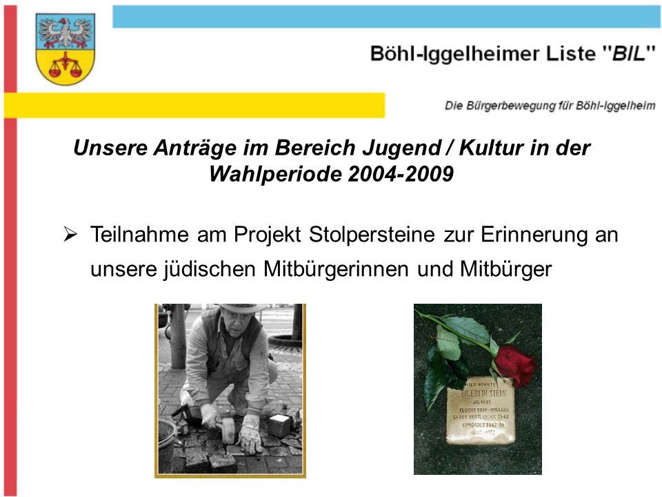 Unsere Anträge im Bereich Jugend / Kultur in der Wahlperiode 2004-2009 Teilnahme am Projekt Stolpersteine zur Erinnerung an unsere jüdischen Mitbürgerinnen und Mitbürger