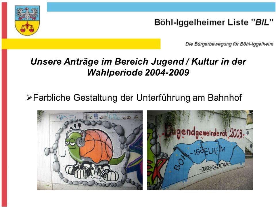 Unsere Anträge im Bereich Jugend / Kultur in der Wahlperiode 2004-2009 Farbliche Gestaltung der Unterführung am Bahnhof