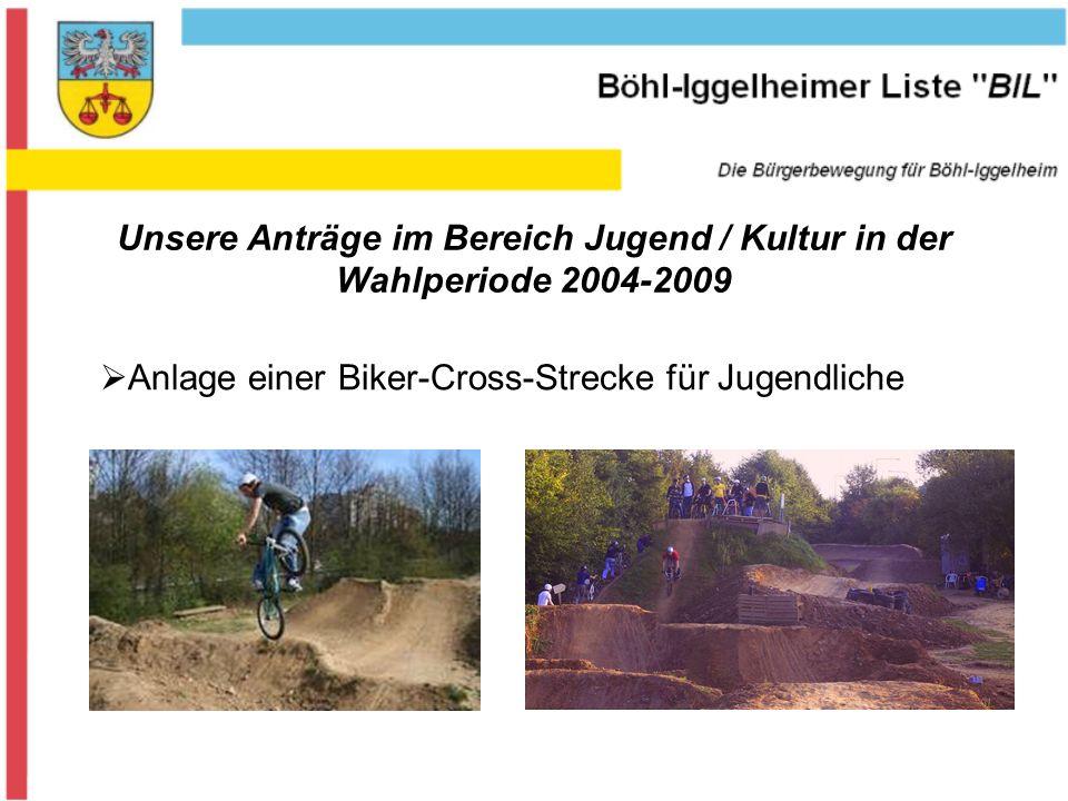Unsere Anträge im Bereich Jugend / Kultur in der Wahlperiode 2004-2009 Anlage einer Biker-Cross-Strecke für Jugendliche