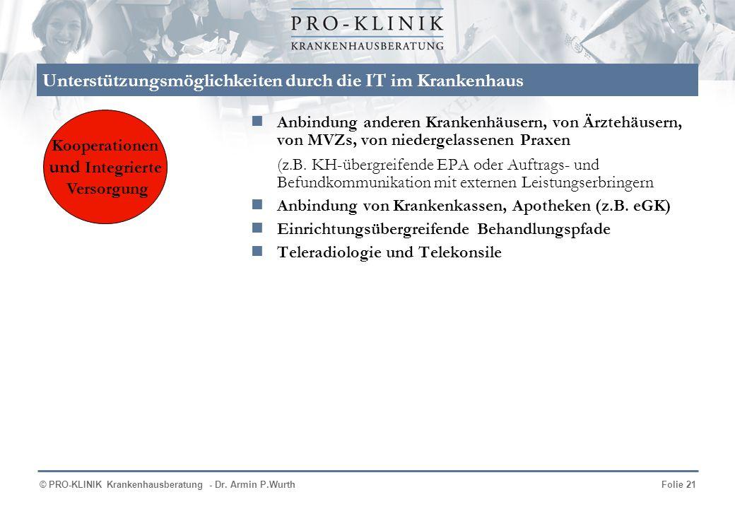 © PRO-KLINIK Krankenhausberatung - Dr. Armin P.WurthFolie 21 Unterstützungsmöglichkeiten durch die IT im Krankenhaus Anbindung anderen Krankenhäusern,
