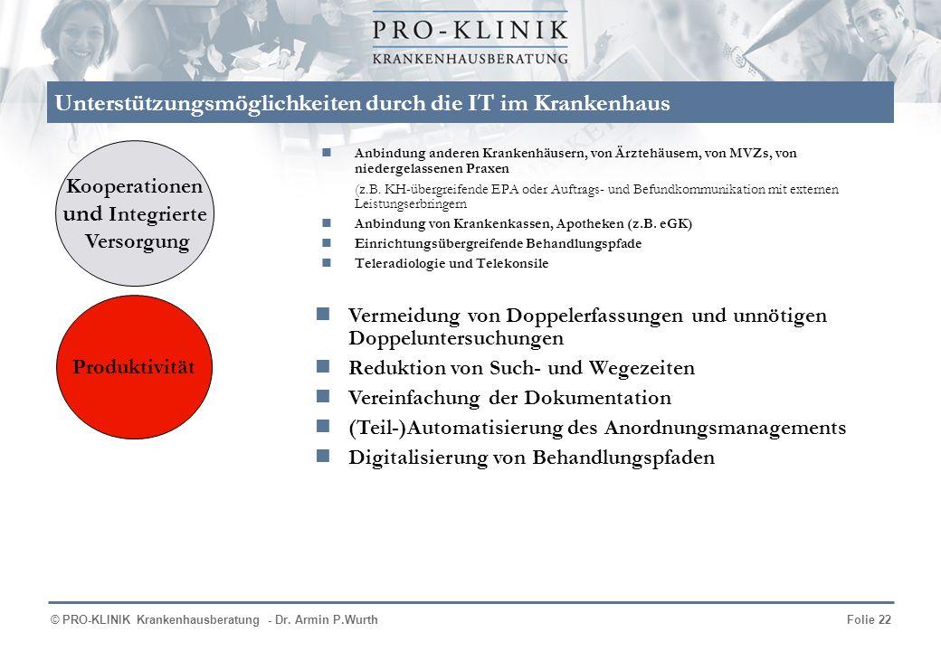 © PRO-KLINIK Krankenhausberatung - Dr. Armin P.WurthFolie 22 Unterstützungsmöglichkeiten durch die IT im Krankenhaus Anbindung anderen Krankenhäusern,