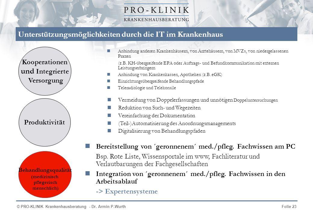 © PRO-KLINIK Krankenhausberatung - Dr. Armin P.WurthFolie 23 Unterstützungsmöglichkeiten durch die IT im Krankenhaus Anbindung anderen Krankenhäusern,