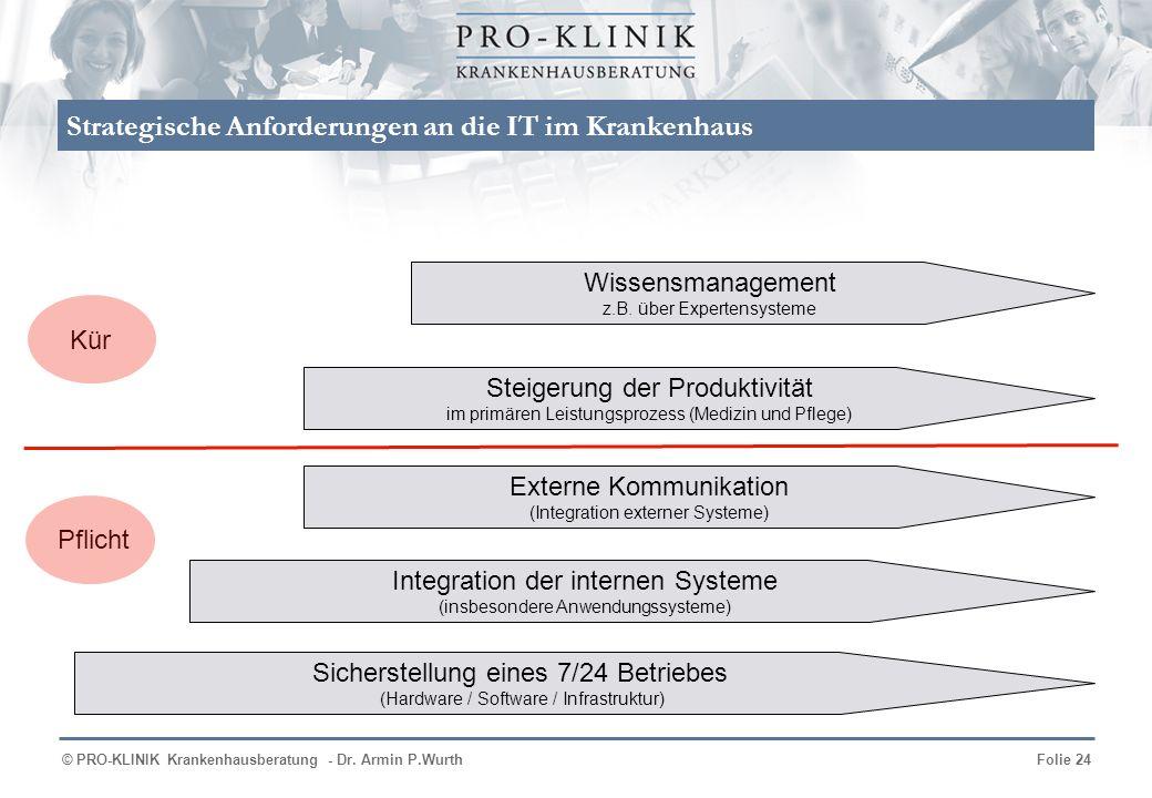 © PRO-KLINIK Krankenhausberatung - Dr. Armin P.WurthFolie 24 Strategische Anforderungen an die IT im Krankenhaus Sicherstellung eines 7/24 Betriebes (