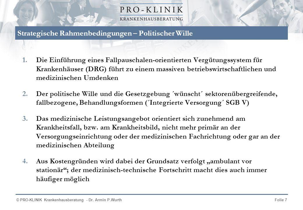 © PRO-KLINIK Krankenhausberatung - Dr. Armin P.WurthFolie 7 Strategische Rahmenbedingungen – Politischer Wille 1.Die Einführung eines Fallpauschalen-o