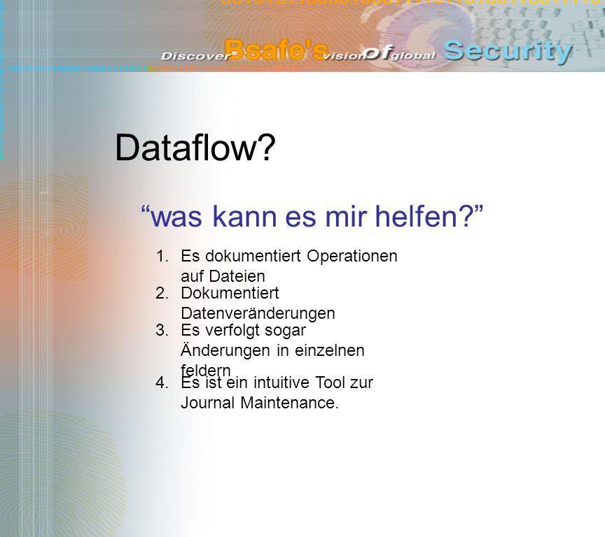 Dataflow? was kann es mir helfen? 1.Es dokumentiert Operationen auf Dateien 2.Dokumentiert Datenveränderungen 4.Es ist ein intuitive Tool zur Journal