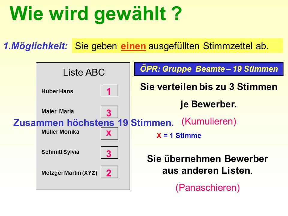 Liste ABC Huber Hans Maier Maria Müller Monika Schmitt Sylvia ÖPR: Gruppe Beamte – 19 Stimmen 1.Möglichkeit: Sie verteilen bis zu 3 Stimmen je Bewerber.