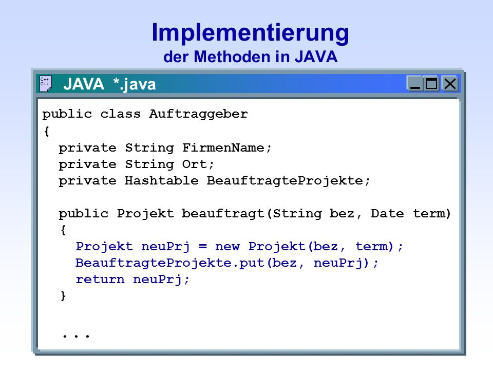 Implementierung der Methoden in JAVA JAVA *.java C++ public class Auftraggeber { private String FirmenName; private String Ort; private Hashtable Beau