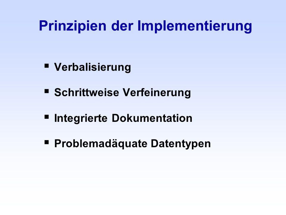 Prinzipien der Implementierung Verbalisierung Schrittweise Verfeinerung Integrierte Dokumentation Problemadäquate Datentypen
