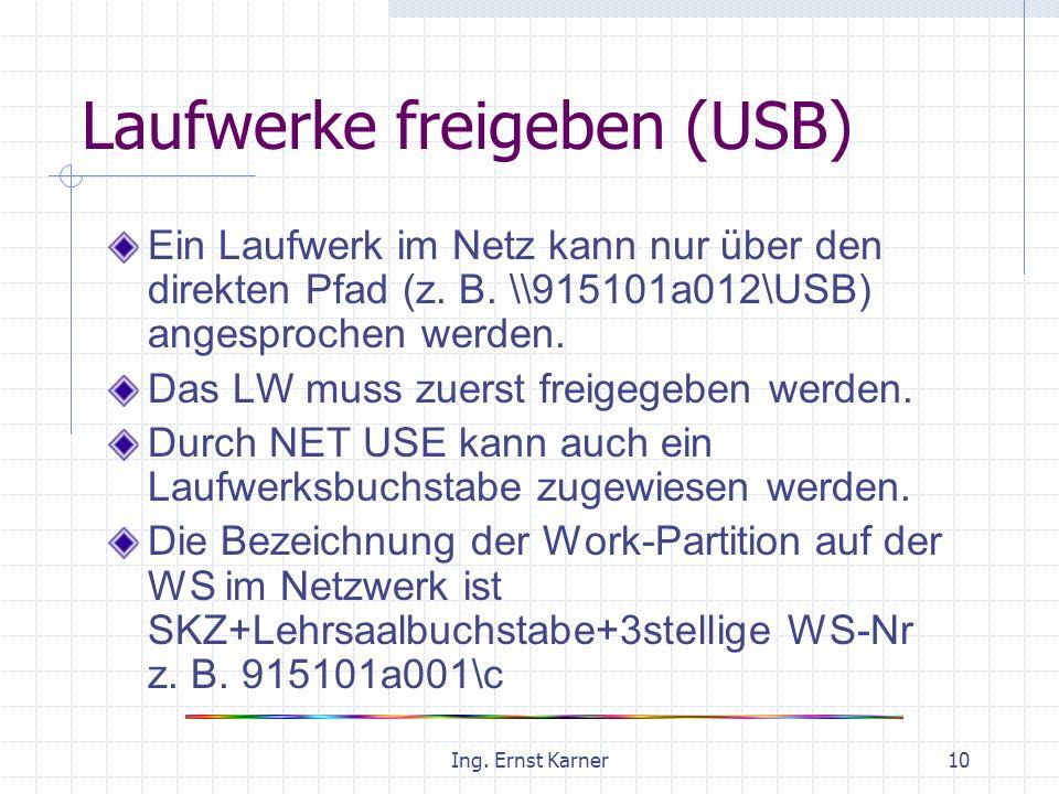 Ing. Ernst Karner10 Laufwerke freigeben (USB) Ein Laufwerk im Netz kann nur über den direkten Pfad (z. B. \\915101a012\USB) angesprochen werden. Das L