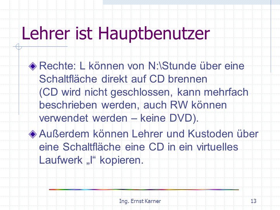 Ing. Ernst Karner13 Lehrer ist Hauptbenutzer Rechte: L können von N:\Stunde über eine Schaltfläche direkt auf CD brennen (CD wird nicht geschlossen, k