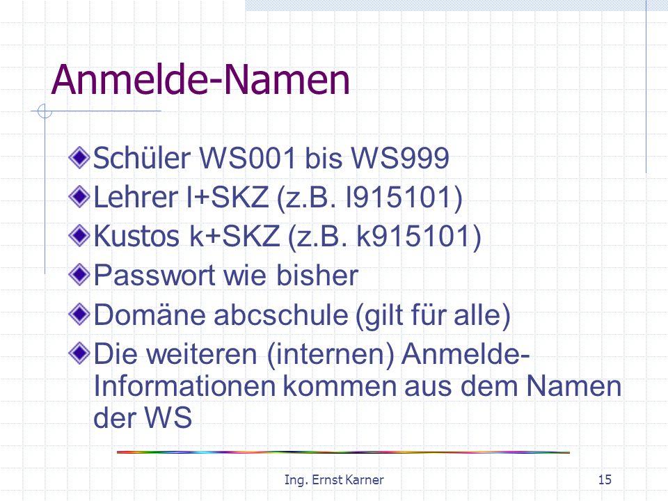 Ing. Ernst Karner15 Anmelde-Namen Schüler WS001 bis WS999 Lehrer l+SKZ (z.B.