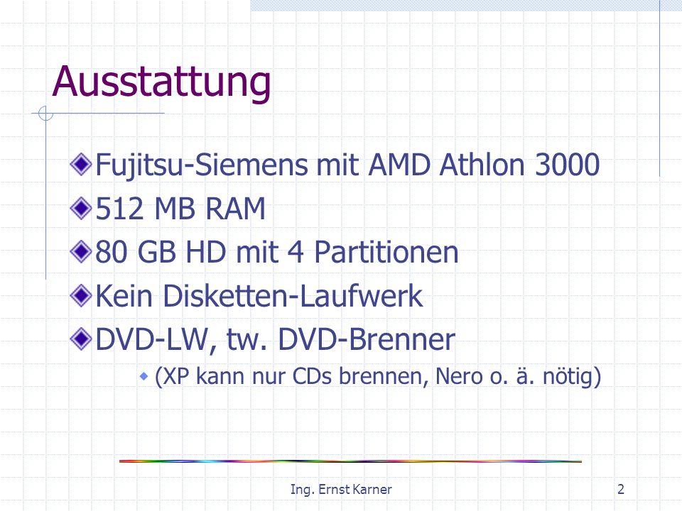 Ing. Ernst Karner2 Ausstattung Fujitsu-Siemens mit AMD Athlon 3000 512 MB RAM 80 GB HD mit 4 Partitionen Kein Disketten-Laufwerk DVD-LW, tw. DVD-Brenn
