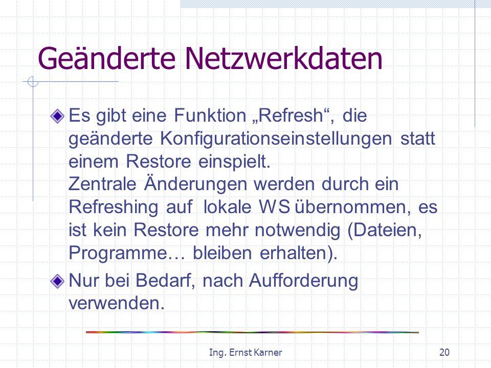 Ing. Ernst Karner20 Geänderte Netzwerkdaten Es gibt eine Funktion Refresh, die geänderte Konfigurationseinstellungen statt einem Restore einspielt. Ze
