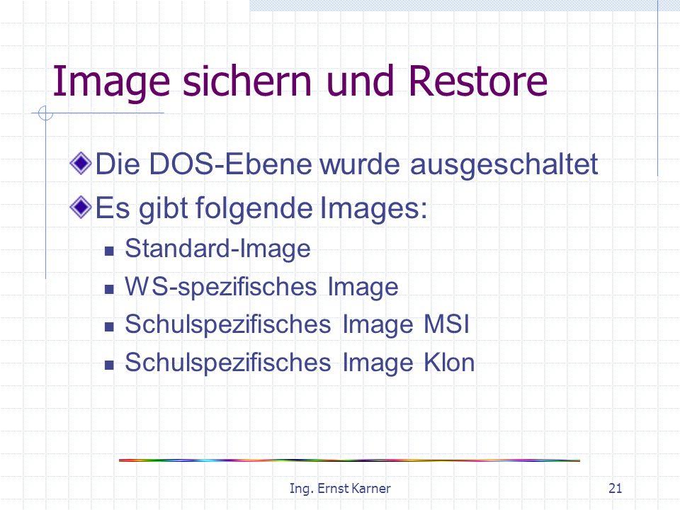 Ing. Ernst Karner21 Image sichern und Restore Die DOS-Ebene wurde ausgeschaltet Es gibt folgende Images: Standard-Image WS-spezifisches Image Schulspe