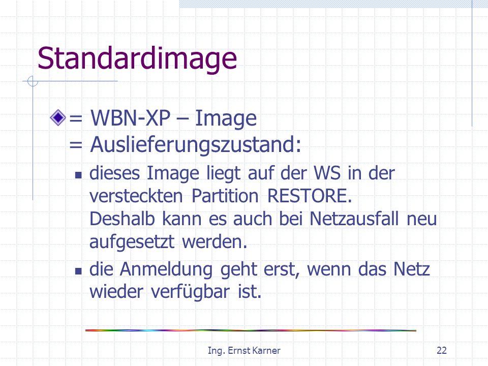Ing. Ernst Karner22 Standardimage = WBN-XP – Image = Auslieferungszustand: dieses Image liegt auf der WS in der versteckten Partition RESTORE. Deshalb