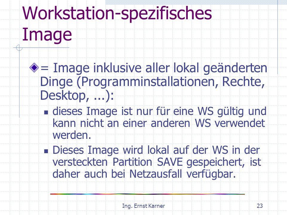 Ing. Ernst Karner23 Workstation-spezifisches Image = Image inklusive aller lokal geänderten Dinge (Programminstallationen, Rechte, Desktop,...): diese