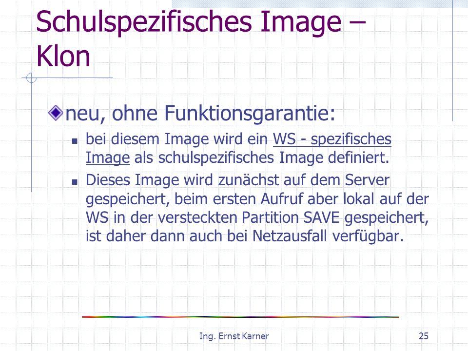 Ing. Ernst Karner25 Schulspezifisches Image – Klon neu, ohne Funktionsgarantie: bei diesem Image wird ein WS - spezifisches Image als schulspezifische