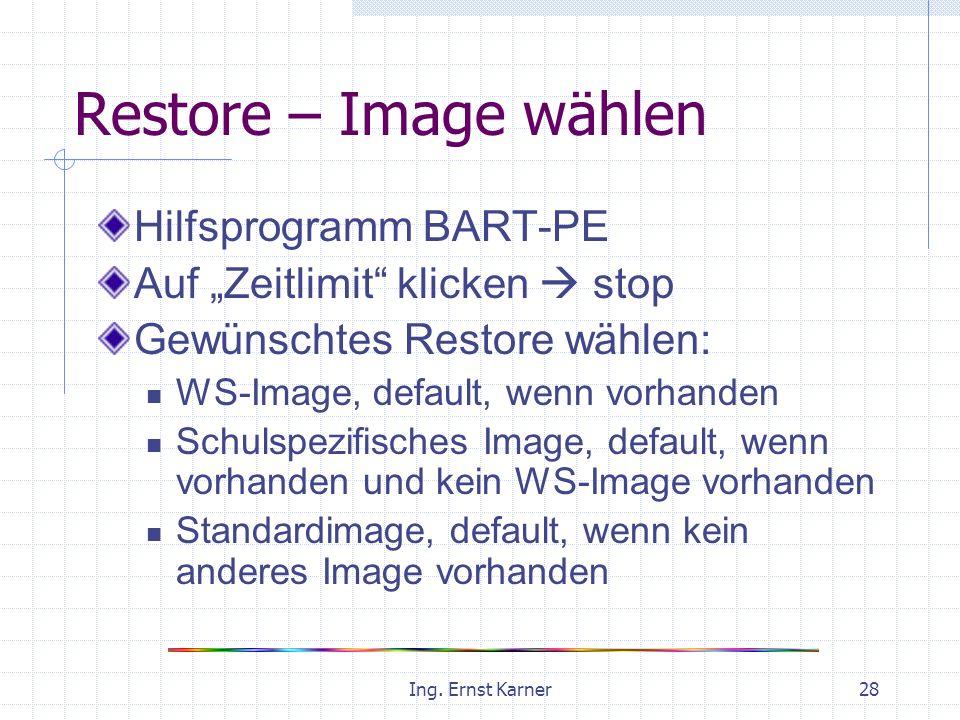 Ing. Ernst Karner28 Restore – Image wählen Hilfsprogramm BART-PE Auf Zeitlimit klicken stop Gewünschtes Restore wählen: WS-Image, default, wenn vorhan