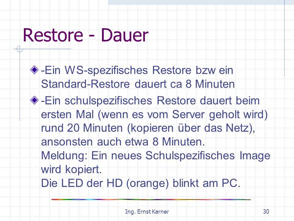 Ing. Ernst Karner30 Restore - Dauer -Ein WS-spezifisches Restore bzw ein Standard-Restore dauert ca 8 Minuten -Ein schulspezifisches Restore dauert be