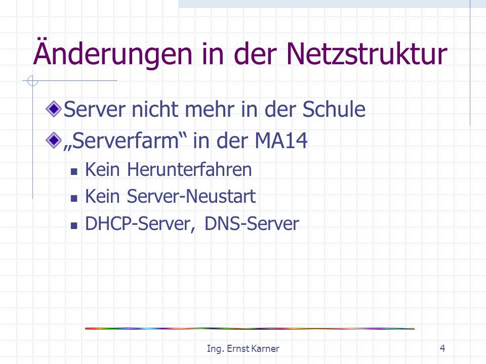 Ing. Ernst Karner4 Änderungen in der Netzstruktur Server nicht mehr in der Schule Serverfarm in der MA14 Kein Herunterfahren Kein Server-Neustart DHCP