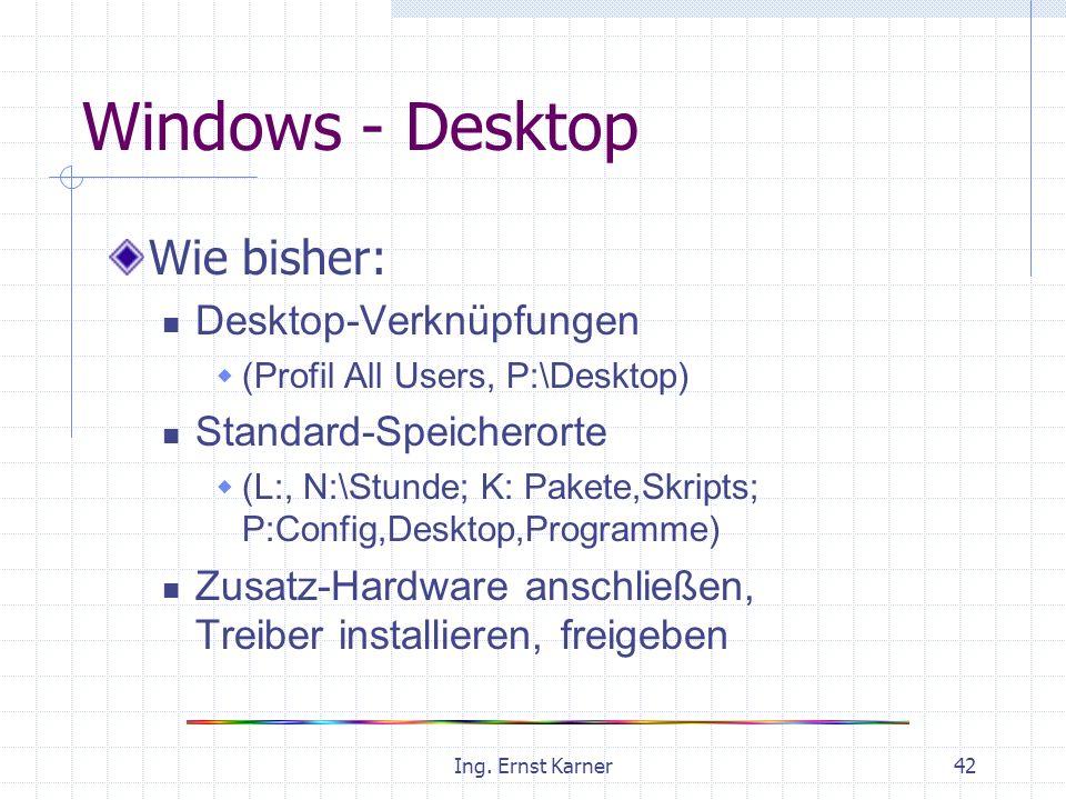 Ing. Ernst Karner42 Windows - Desktop Wie bisher: Desktop-Verknüpfungen (Profil All Users, P:\Desktop) Standard-Speicherorte (L:, N:\Stunde; K: Pakete