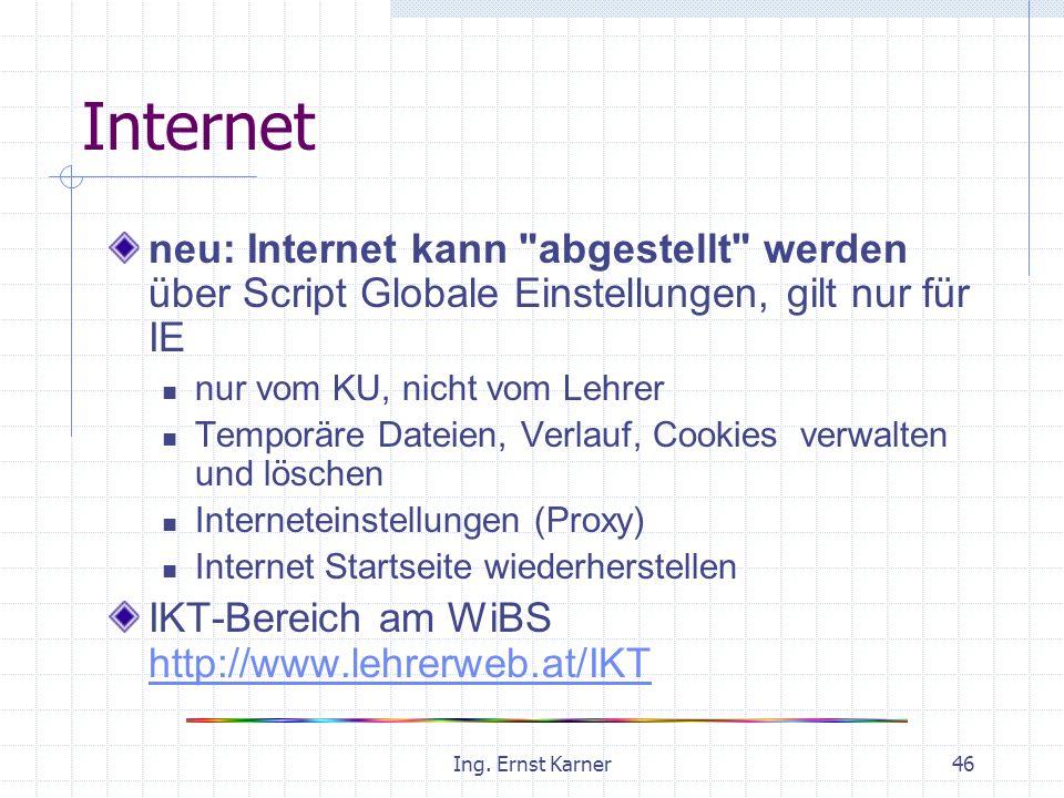 Ing. Ernst Karner46 Internet neu: Internet kann