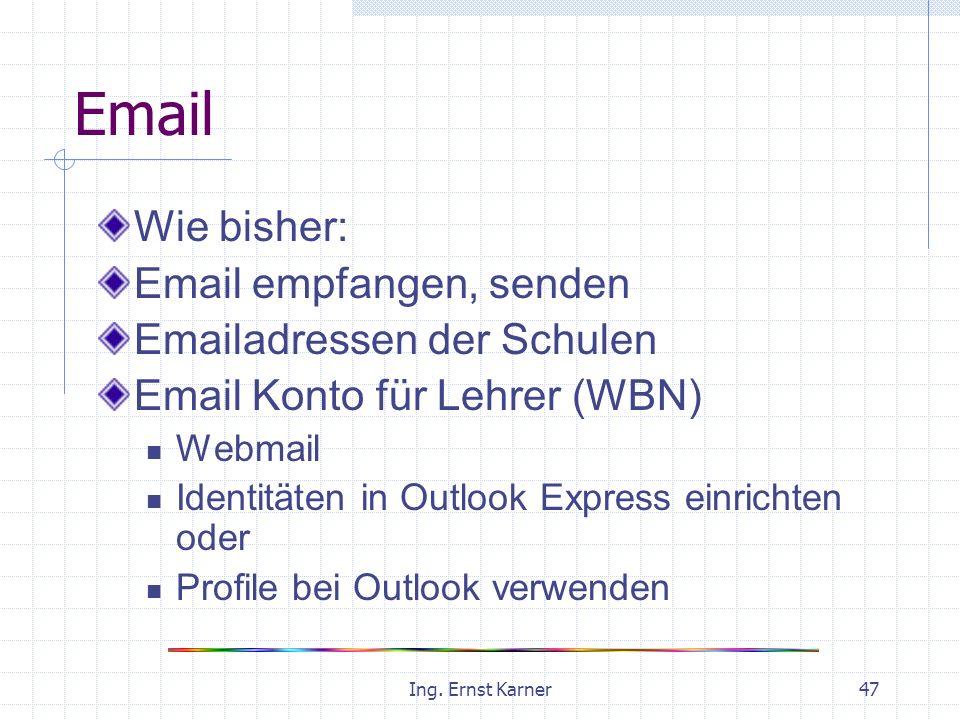Ing. Ernst Karner47 Email Wie bisher: Email empfangen, senden Emailadressen der Schulen Email Konto für Lehrer (WBN) Webmail Identitäten in Outlook Ex