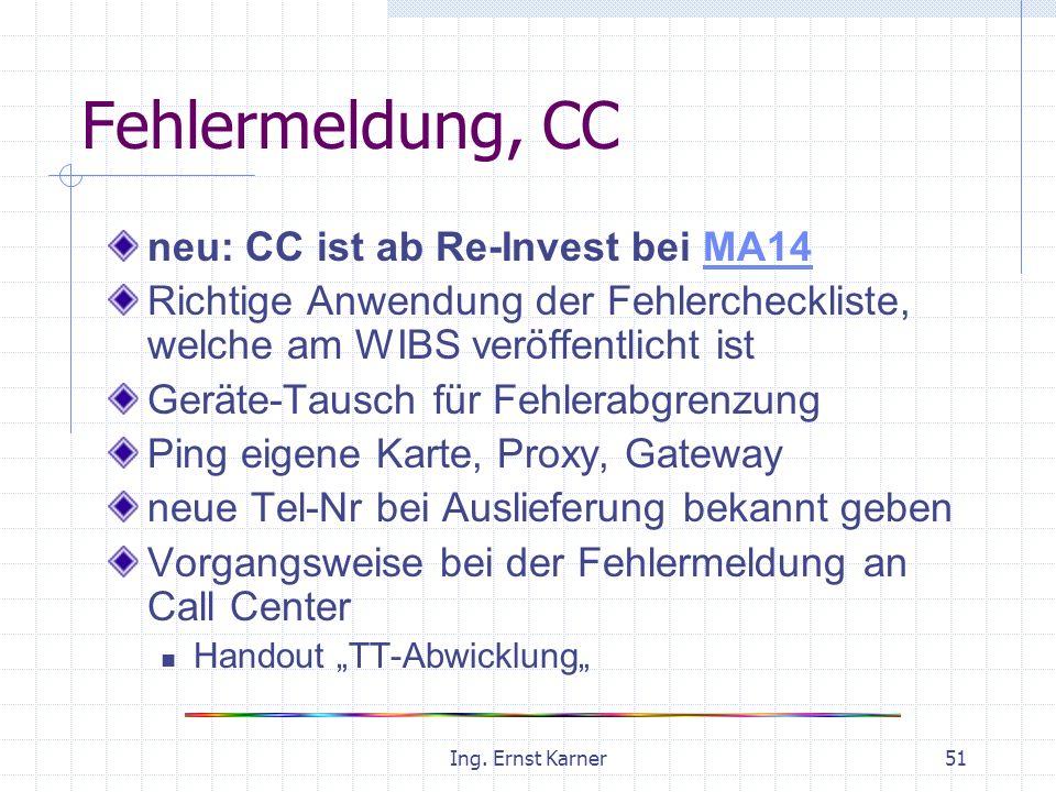 Ing. Ernst Karner51 Fehlermeldung, CC neu: CC ist ab Re-Invest bei MA14MA14 Richtige Anwendung der Fehlercheckliste, welche am WIBS veröffentlicht ist