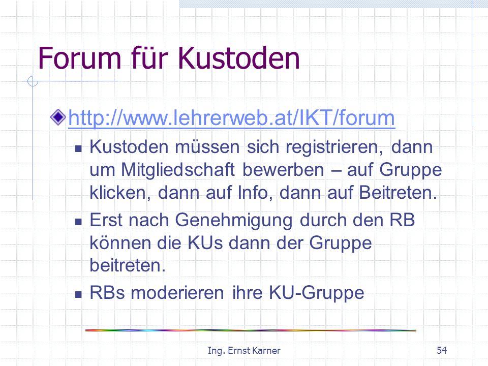 Ing. Ernst Karner54 Forum für Kustoden http://www.lehrerweb.at/IKT/forum Kustoden müssen sich registrieren, dann um Mitgliedschaft bewerben – auf Grup