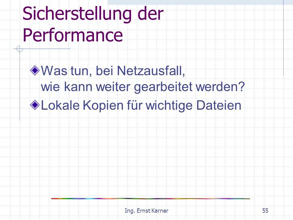 Ing. Ernst Karner55 Sicherstellung der Performance Was tun, bei Netzausfall, wie kann weiter gearbeitet werden? Lokale Kopien für wichtige Dateien