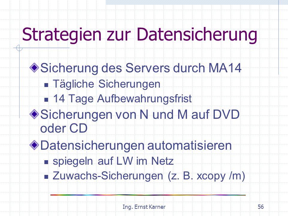 Ing. Ernst Karner56 Strategien zur Datensicherung Sicherung des Servers durch MA14 Tägliche Sicherungen 14 Tage Aufbewahrungsfrist Sicherungen von N u