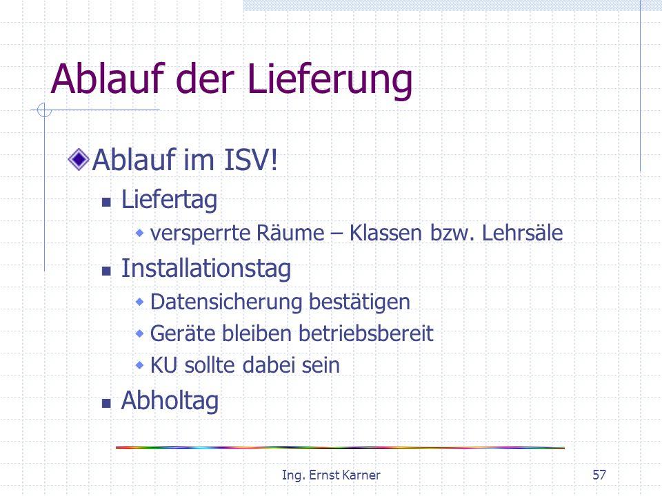 Ing. Ernst Karner57 Ablauf der Lieferung Ablauf im ISV.