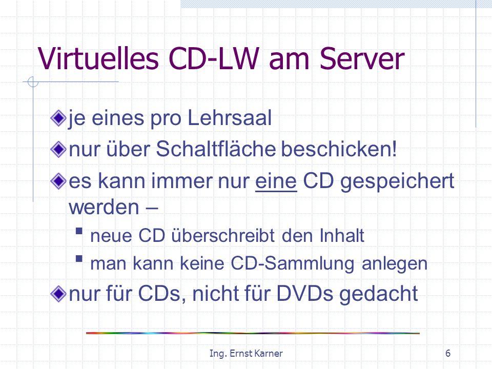 Ing. Ernst Karner6 Virtuelles CD-LW am Server je eines pro Lehrsaal nur über Schaltfläche beschicken! es kann immer nur eine CD gespeichert werden – n