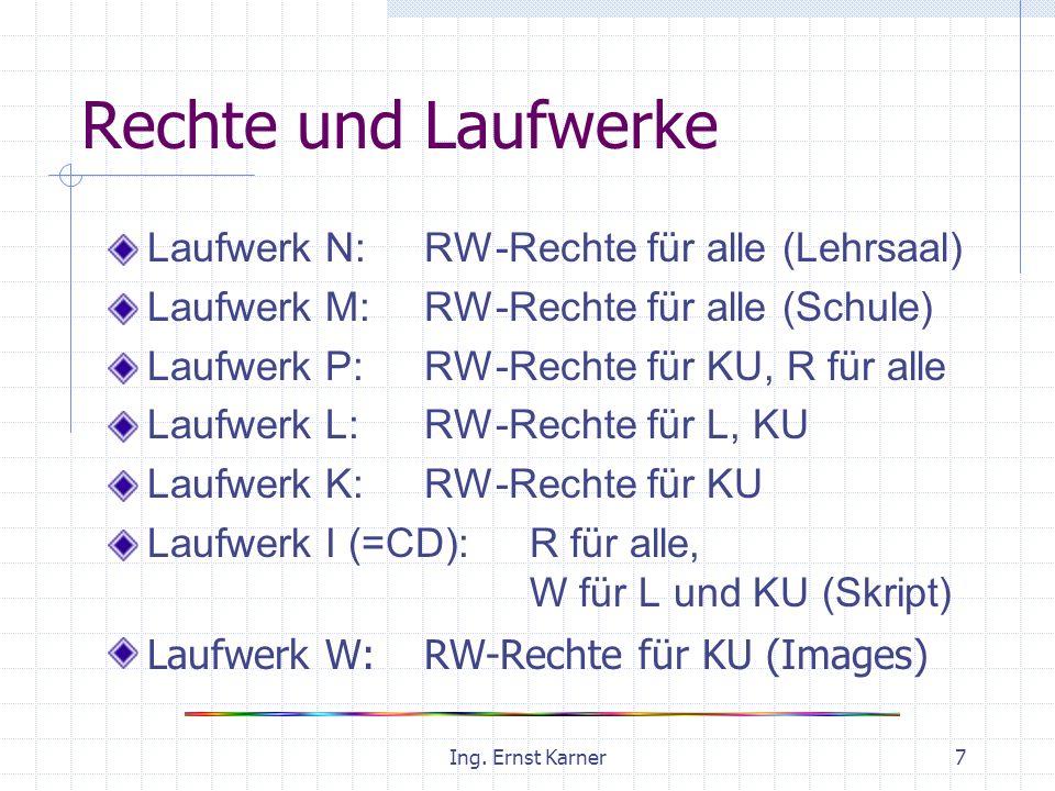 Ing. Ernst Karner7 Rechte und Laufwerke Laufwerk N: RW-Rechte für alle (Lehrsaal) Laufwerk M: RW-Rechte für alle (Schule) Laufwerk P: RW-Rechte für KU