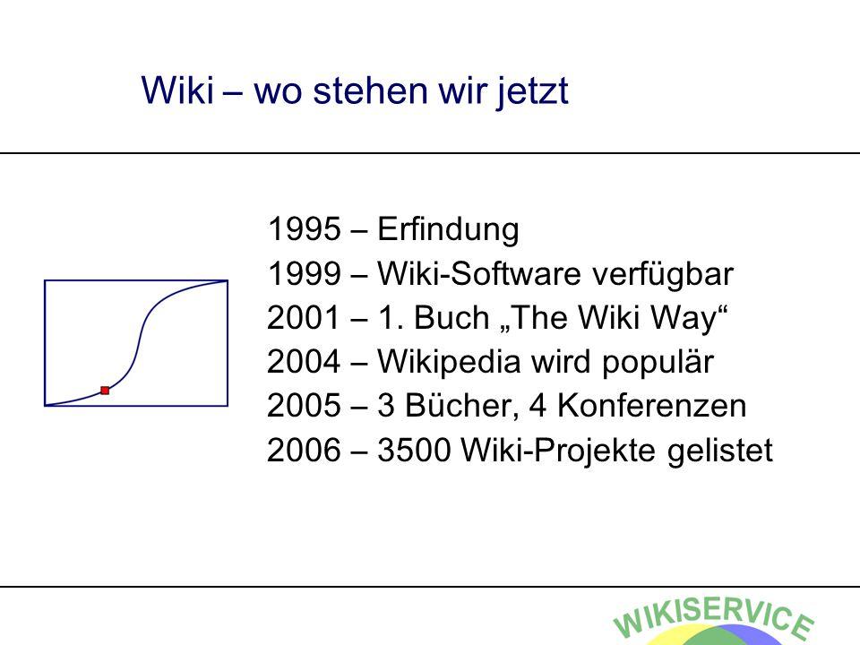 Wiki – wo stehen wir jetzt 1995 – Erfindung 1999 – Wiki-Software verfügbar 2001 – 1. Buch The Wiki Way 2004 – Wikipedia wird populär 2005 – 3 Bücher,