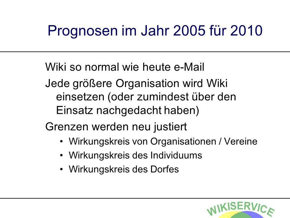 Prognosen im Jahr 2005 für 2010 Wiki so normal wie heute e-Mail Jede größere Organisation wird Wiki einsetzen (oder zumindest über den Einsatz nachged