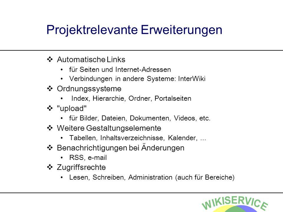 Projektrelevante Erweiterungen Automatische Links für Seiten und Internet-Adressen Verbindungen in andere Systeme: InterWiki Ordnungssysteme Index, Hi